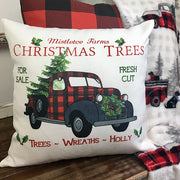 Christmas Trees Plaid Truck Bicycle Pillowcase without Pillow