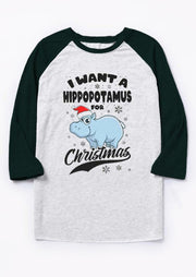 I Want A Hippopotamus For Christmas T-Shirt Tee - Light Grey