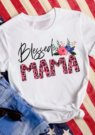 Thanksgiving Blessed Mama Leopard Floral T-Shirt Tee - White