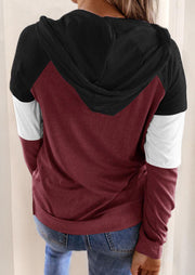 Color Block Drawstring Kangaroo Pocket Hoodie - Burgundy