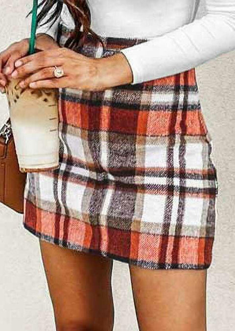 Plaid Mid Waist Casual Mini Skirt
