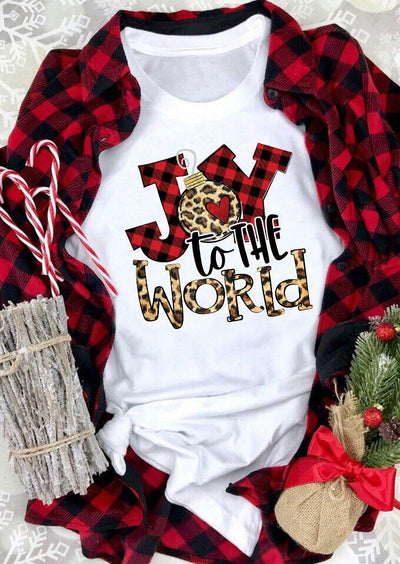 Christmas Joy To The World Buffalo Plaid Leopard T-Shirt Tee - White