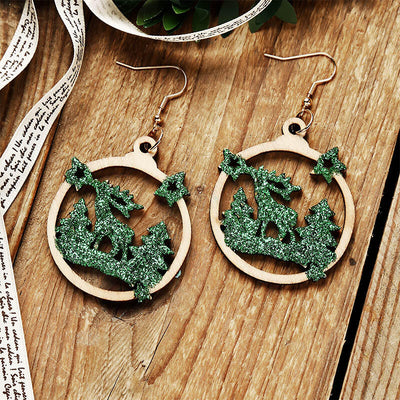 Christmas Tree Reindeer Star Sequined Wooded Earrings
