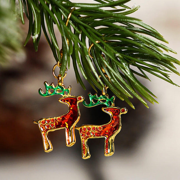 Christmas Tree Reindeer Hollow Out Alloy Earrings