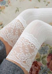 Lace Splicing Thigh-High Socks