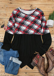 Plaid Splicing Asymmetric Long Sleeve Blouse