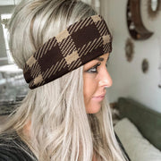 Plaid Splicing Twist Knitted Casual Wide Headband