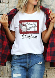 I Want A Hippopotamus For Christmas Plaid T-Shirt Tee -White