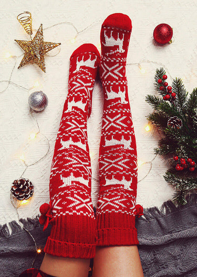 Christmas Elk Over Knee Knitted Hairball Socks