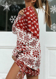 Christmas Snowflake Tie Open Back Mini Dress - Red