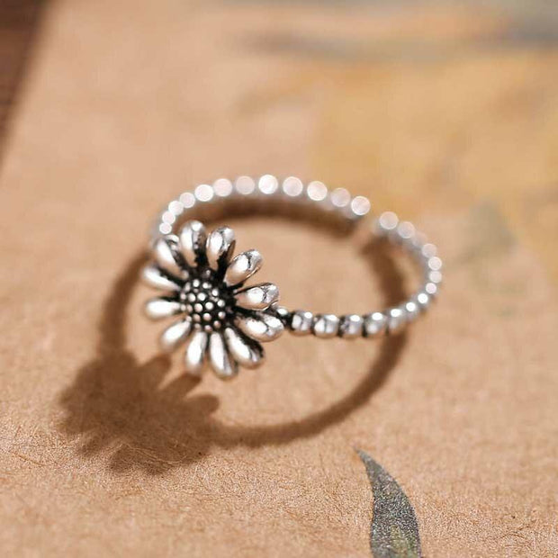 Vintage Sunflower Open Adjustable Alloy Ring - Silver