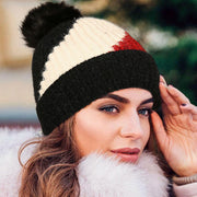 Winter Warm Color Block Hairball Knitted Toque Hat