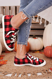 Buffalo Plaid Lace Up Flat Canvas Sneakers - Red