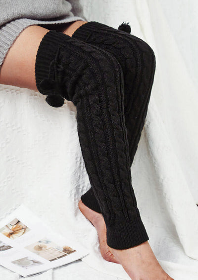 Soft Hairball Thigh-High Knitted Leg Warmers Socks