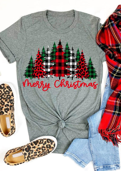 Merry Christmas Plaid Leopard Tree O-Neck T-Shirt Tee - Gray