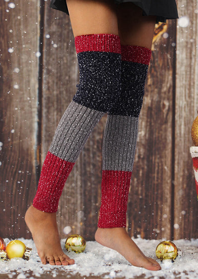 Snowflake Color Block Over Knee Knitted Leg Warmers Socks