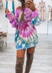 Tie Dye O-Neck Sweatshirt Mini Dress - Purple