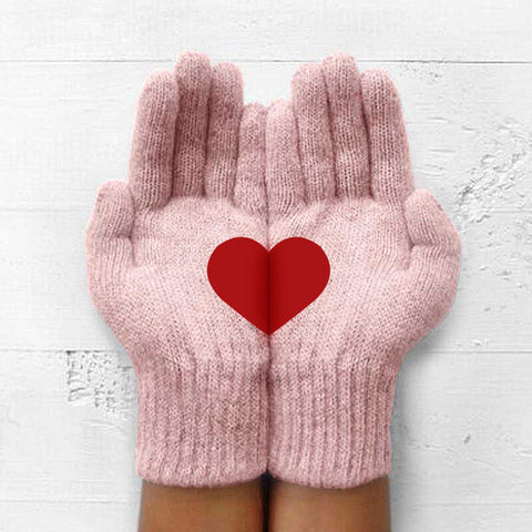 Winter Outdoor Thick Warm Heart Knitted Gloves
