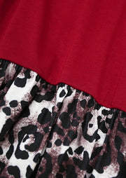 Leopard Splicing Elastic Waist O-Neck Mini Dress - Red