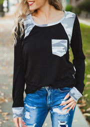 Camouflage Splicing Pocket Long Sleeve Blouse - Black