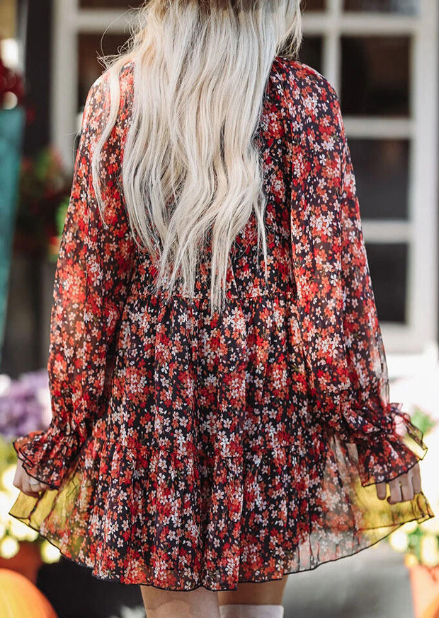 Floral Ruffled V-Neck Long Sleeve Mini Dress