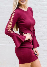 Lace Up Flare Sleeve O-Neck Bodycon Dress - Plum