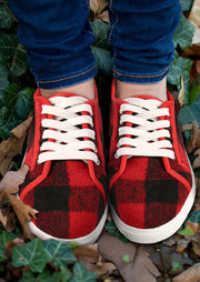 Warm Buffalo Plaid Lace Up Flat Sneakers - Red