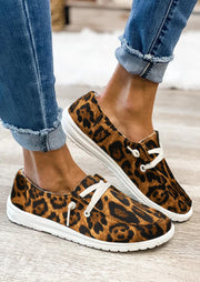 Leopard Lace Up Round Toe Low Top Flat Sneakers