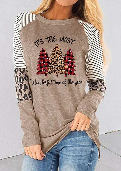 Leopard Plaid Christmas Trees Splicing Striped Blouse - Light Coffee