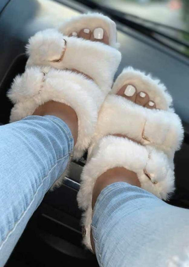 Hollow Out Buckle Plush Flat Slippers
