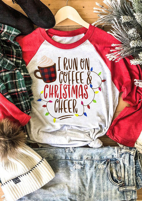 I Run On Coffee & Christmas Cheer Baseball T-Shirt Tee - Red