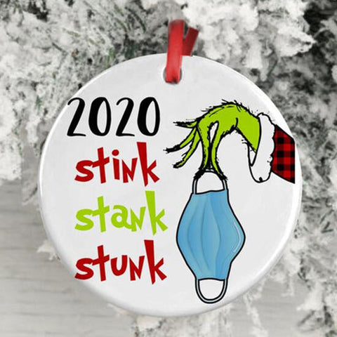 2020 Stink Stank Stunk Grinch Hand Christmas Ornament