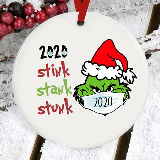 Christmas Hat Grinch 2020 Stink Stank Stunk Hanging Ornament