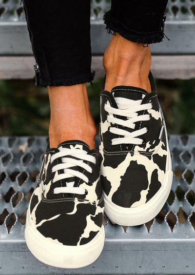 Cow Print Lace Up Round Toe Flat Sneakers - Black