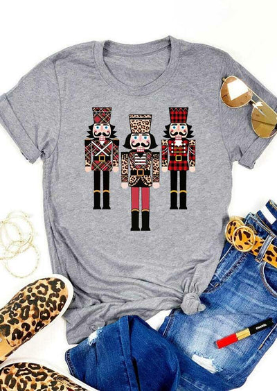 Christmas Leopard Plaid Nutcracker Soldier T-Shirt Tee - Gray
