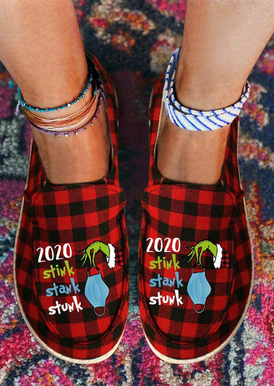 2020 Stink Stank Stunk Grinch Hand Buffalo Plaid Flat Sneakers - Red