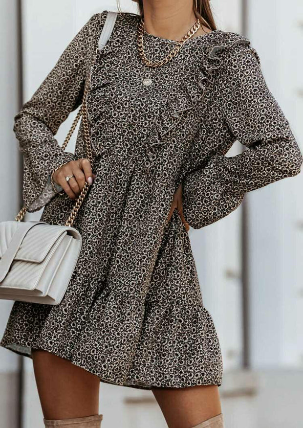 Floral Ruffled Long Sleeve Mini Dress without Necklace