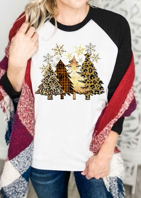 Leopard Plaid Christmas Tree Snowflake T-Shirt Tee - Black