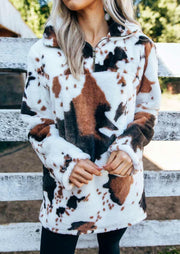 Cow Print Zipper Collar Plush Pullover Sweatshirt