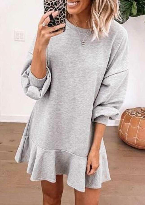 Ruffled Drop Shoulder Mini Sweatshirt Dress - Light Grey