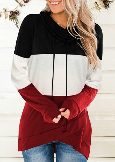 Color Block Drawstring Cowl Neck Asymmetric Sweatshirt