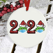 Christmas Double-Sided 2020 Grinch Plaid Tree Hanging Ornament