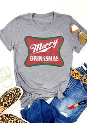 Merry Drinksmas O-Neck T-Shirt Tee - Gray