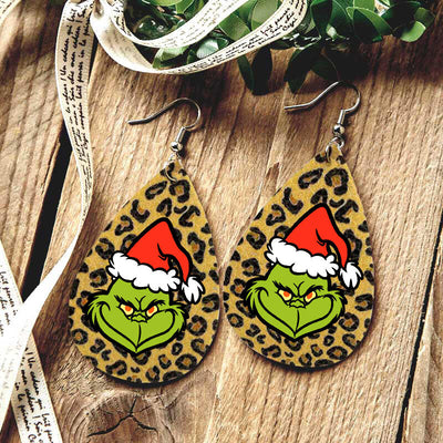 Christmas Hat Grinch Leopard Water Drop Earrings