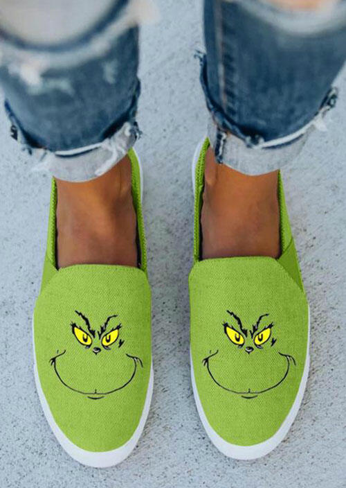 Christmas Grinch Cartoon Slip On Flat Sneakers - Green
