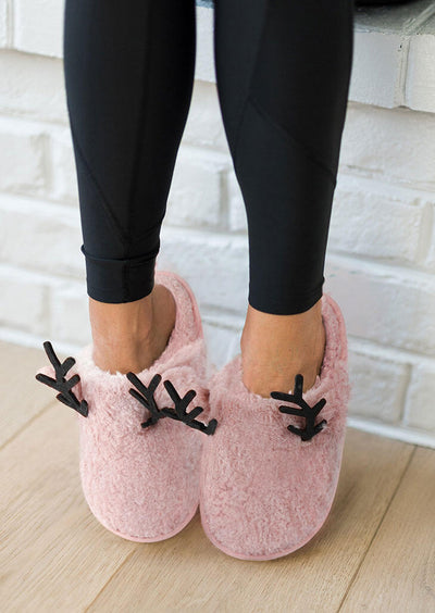 Christmas Reindeer Warm Plush Indoor Slippers - Pink