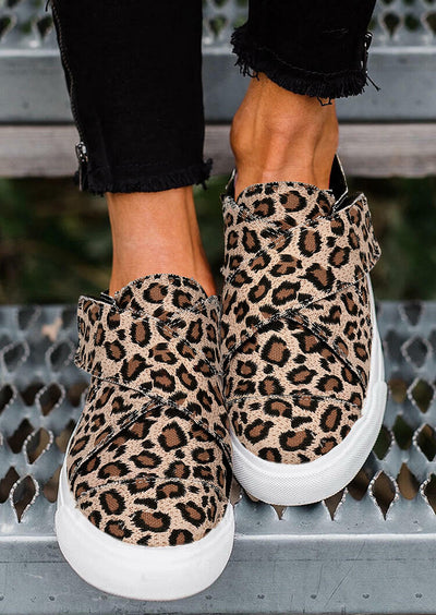 Leopard Cross Band Velcro Round Toe Flat Sneakers