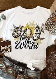 Christmas Joy to the world Leopard Snowflake T-Shirt Tee - White