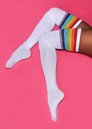 Colorful Striped Splicing Rhinestone Thigh-High Socks