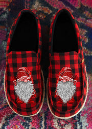 Christmas Gnome Buffalo Plaid Flat Sneakers - Red